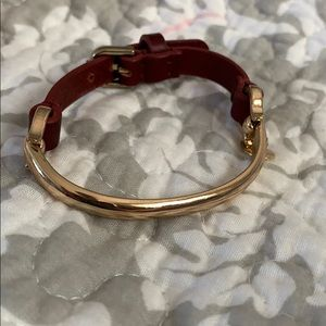 Talbots brown leather and gold buckle bracelet
